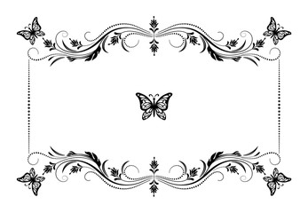 Decorative vintage frame with floral ornament and butterfly in retro style