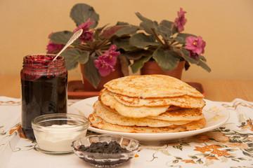Breakfast of handmade freshly baked pancakes on the Shrovetide