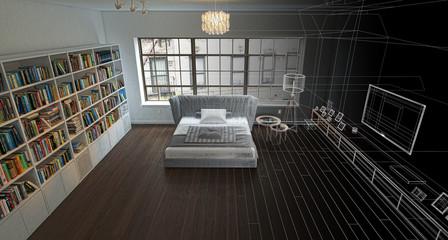 Camera da letto open-space, illustrazione 3d