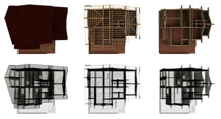 Fasi di costruzione di una casa biosostenibile in legno, illustrazione 3d
