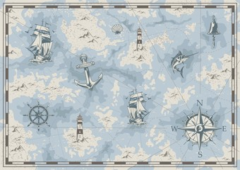 Vintage nautical old map concept