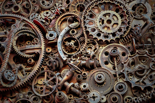Steampunk texture, backgroung with mechanical parts, gear wheels