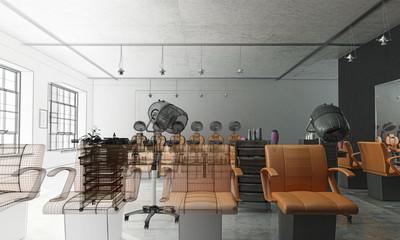 Salone per parrucchieri, Hair Saloon, Illustrazione 3d