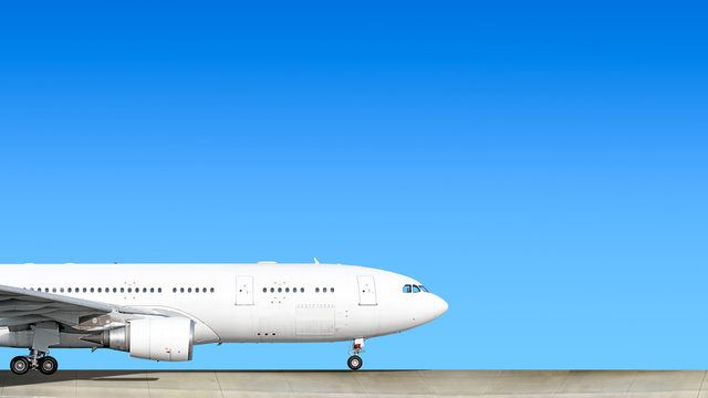 heavy passenger jet engine airplane on runway at airport against blue sky with aircraft nose parts air travel aviation transportation background forward nose part silhouette isolated white theme
