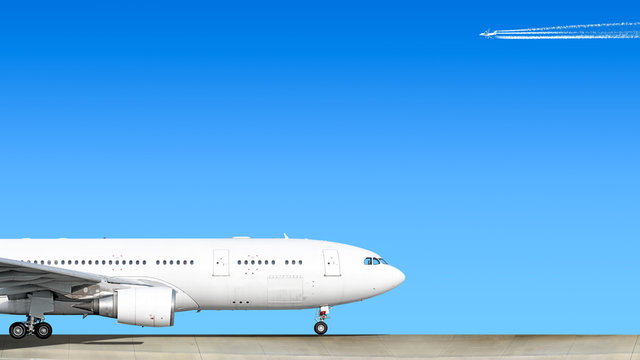 heavy passenger jet engine airplane on runway at airport against blue sky with modern aircraft flying air travel aviation transportation background forward nose part silhouette isolated white theme