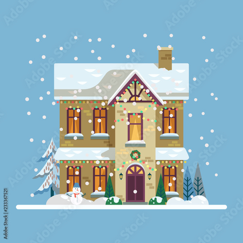 Yard With House Decorated For 2019 New Year Xmas Stock Image And