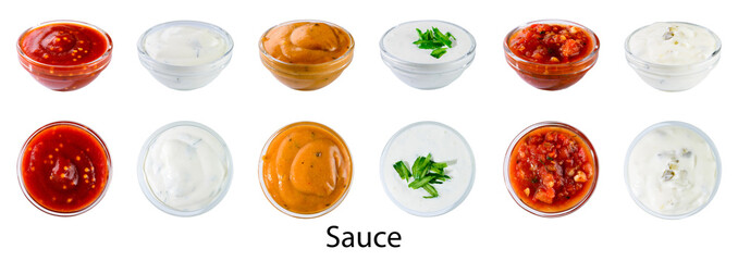 Foto op Plexiglas Kruiderij Bowl with sauce set isolated on white background