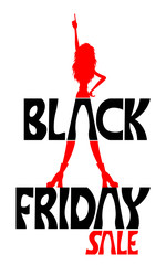 Black friday sale text and a woman with index finger pointing silhouette