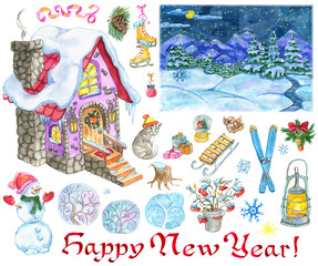 new year design set with country house snowman landscape holiday objects hand