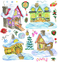 Christmas and new year design set with cute country houses and holiday decorations. Hand painted winter watercolor clip art illustrations isolated on white background