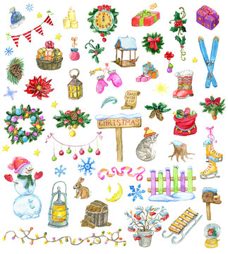 Design set with Christmas and New Year holiday icons and objects. Hand painted winter watercolor clip art illustrations isolated on white background