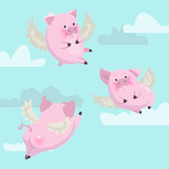 funny flying pink pigs