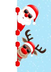 Vertical Banner Santa & Rudolph Sunglasses Snow Light Blue