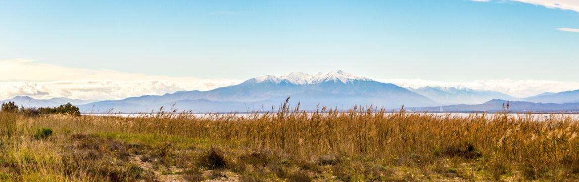 Le massif du Canigou depuis l'étang de Leucate
