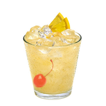 Tom Collins or Whiskey sour cocktail with maraschino cherry and lemon slice isolated on white background