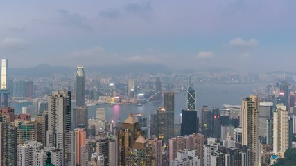 Fotomurales - Time lapse of Hong Kong cityscape from Victoria peak.