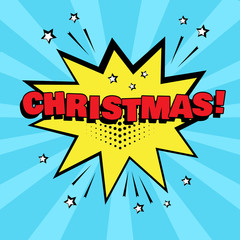 Yellow comic bubble with CHRISTMAS word on blue background. Comic sound effects in pop art style. Vector illustration.