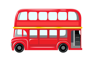 Vector illustration isolated on white background. English red double-decker bus side view flat style. Element infographic, website, icon, stickers, postcards, place for text. Eps 10
