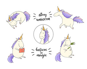 Set of funny unicorns on the white background. Vector illustration. magic art for poster, invitations, cards, badge, icon, banner, stickers. Hand lettering phrases: stay unicorn, believe in magic