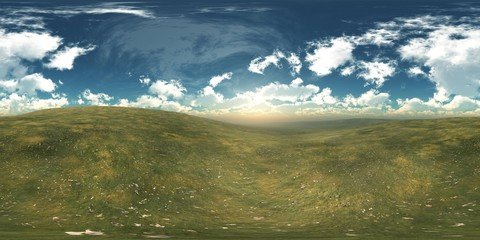 HDRI, environment map , Round panorama, spherical panorama, equidistant projection, land under heaven