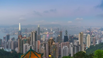 Fototapete - Time lapse of Hong Kong cityscape from Victoria peak.