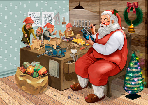 Hand drawn Santa Claus making Christmas presents with his elves in a workshop