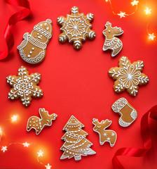 Christmas holidays ornament flat lay; Christmas card background