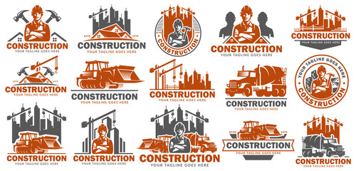 Construction logo template set, logo pack, logo bundles, vector pack of Construction logo