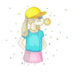 Young teen girl in a baseball cap with headphones blowing bubblegum. Little girl vector cartoon hand draw illustration. Teenage girl in bright colors, rebel girl illustration. Pre teen rebel grl