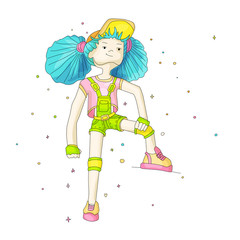 Young girl with blue hair in baseball cap and overalls, vector cartoon hand draw illustration. Teenage young girl in bright colors, rebel girl illustration. Young positive rebel girl. Positive girl