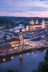 Germany, Bavaria, Passau, city view in the evening