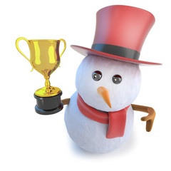 3d Funny cartoon snowman wearing a top hat and holding a gold cup trophy award