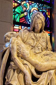 Statue of La Pieta inside the Manila Cathedral, Manila, Philippines