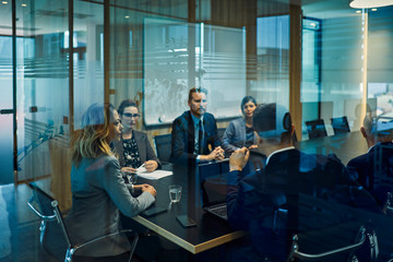 Group of business people discussing in meeting