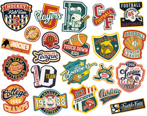 Cute vector collection of college sports athletic badges for children wear print or embroidery