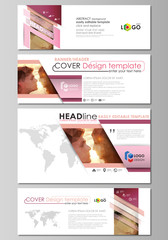 Social media and email headers set, modern banners. Business templates. Abstract design template, vector layouts in popular sizes. Romantic couple kissing. Geometrical pattern in triangular style.