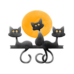 Halloween three black cat and orange moon,water color painting picture.