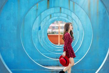 Asian woman walking in Hong Kong.