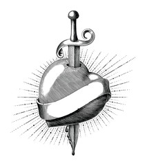 Heart with sword tattoo hand draw vintage engraving style isolated on white background