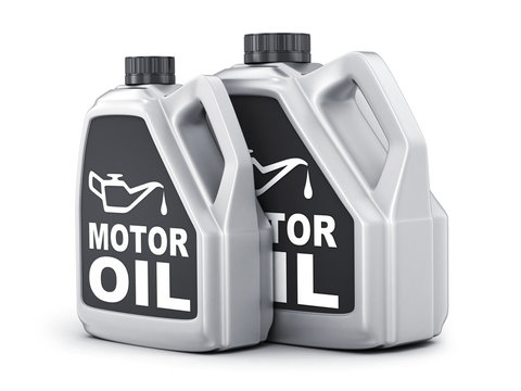 Two can motor oil on white background