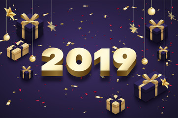 Purple Happy New Year 2019 poster with golden 3d gifts.