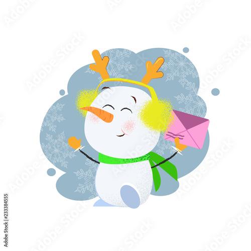 Snowman greeting card design  Drawing of snowman in earmuffs