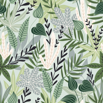 Seamless pattern with tropical leaves. Beautiful print with hand drawn exotic plants. Swimwear botanical design. Vector illustration.