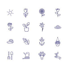 Flowers line icon set. Sun, tulip, sunflower. Nature concept. Can be used for topics like plants, orchard, gardening