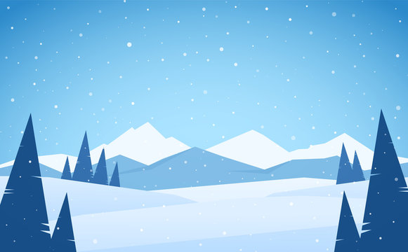 Vector illustration: Winter snowy Mountains landscape with pines, hills and peaks