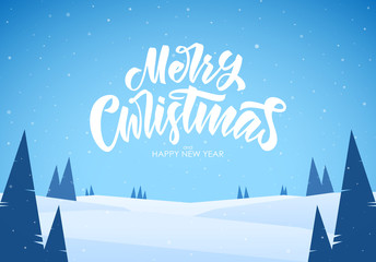 Vector illustration: Winter snowy flat landscape with handwritten type lettering of Merry Christmas, hills and pines.