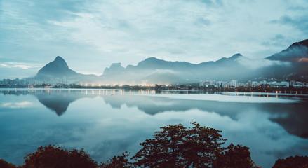 Lagoa de Freitas Lagoon in Rio de Janeiro, Brazil. Early morning reflections on the water. Wall mural