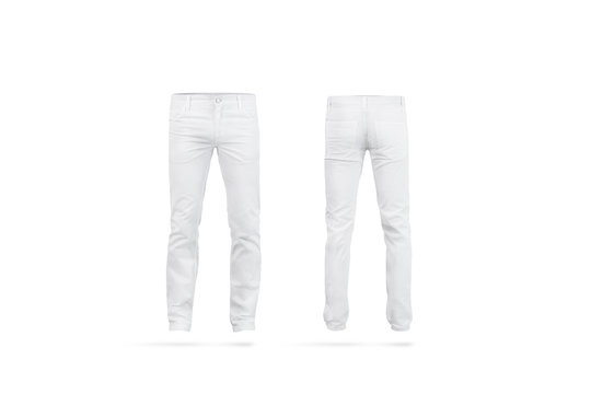 Blank white mens pants mock up, isolated