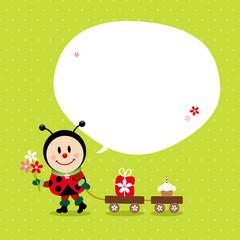 Ladybug Bouquet Handcart Gift Cake Speechbubble Green
