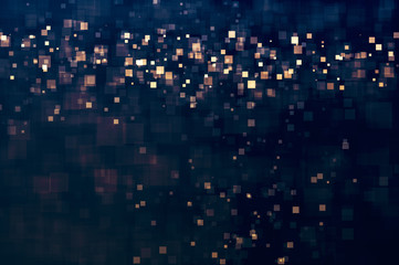 Glitter lights abstract squares background. Defocused bokeh dark. Illustration